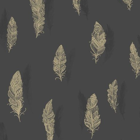 Holden Wallpaper Quill Charcoal Copper 11503