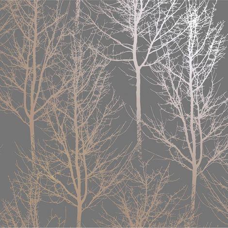 Holden Wallpaper Rhea Trees Dark Grey/Rose Gold 90761
