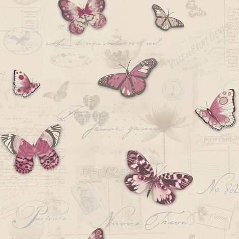 Holden Wallpaper Vintage Butterfly Red/Beige 12070