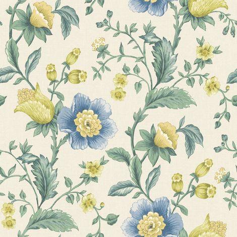 Holden Zinnia Cream/ Blue Floral Wallpaper