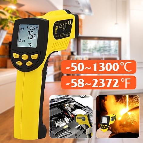 HoldPeak HP-1300 -50-1300 ℃ Pistola per temperatura termometro digitale a infrarossi senza contatto manuale con retroilluminazione LCD (batteria non inclusa) LAVENTE
