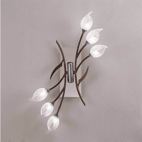 Hollet Ceiling / Wall Lamp with Switch 6 Bulbs G9, Polished Chrome / Wenge
