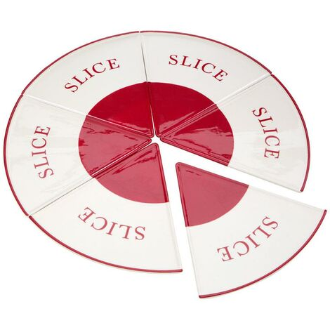 Hollywood Pizza Slice Plates,Red/Cream,6 Slices