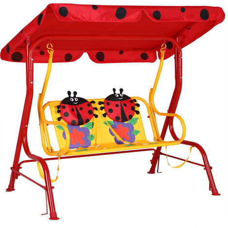 Hollywood Swing with Sun Canopy Seat Belts 2-Seater Garden Swing Bench Double Swing for Children