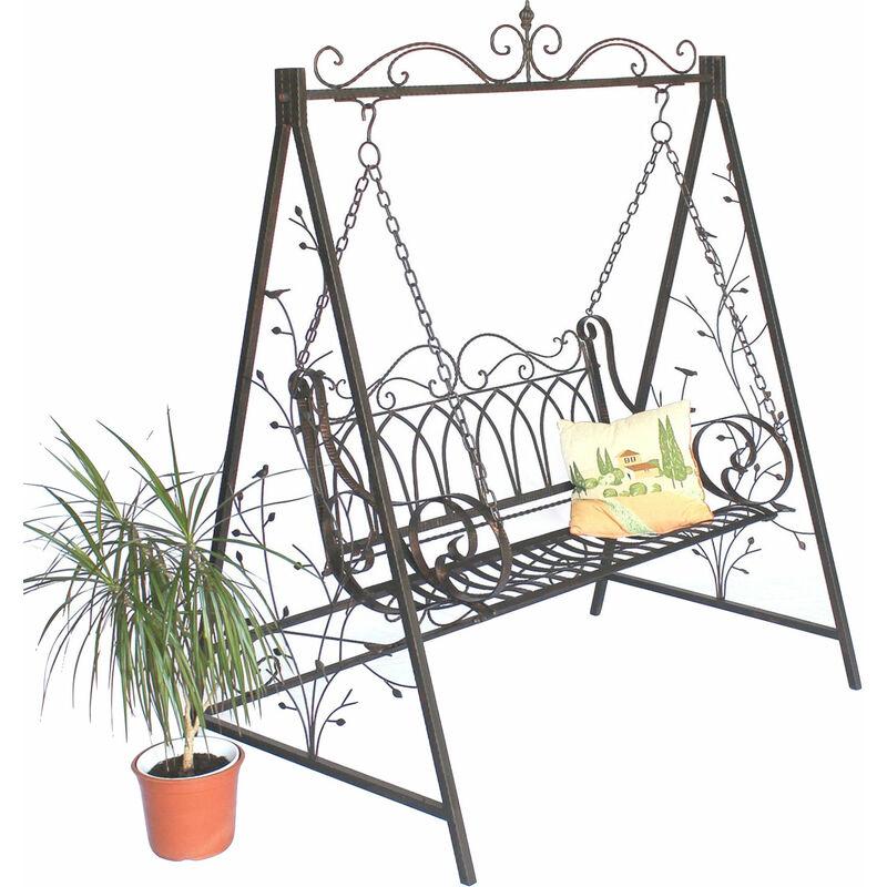 DanDiBo Hollywoodschaukel 2 Sitzer Schaukel Gartenschaukel aus Metall Antik 082505 Garten Schmiedeeisen
