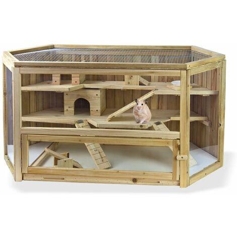 Holz Hamsterkäfig Kleintierstall Käfig Kleintiergehege Meerschweinchenkäfig