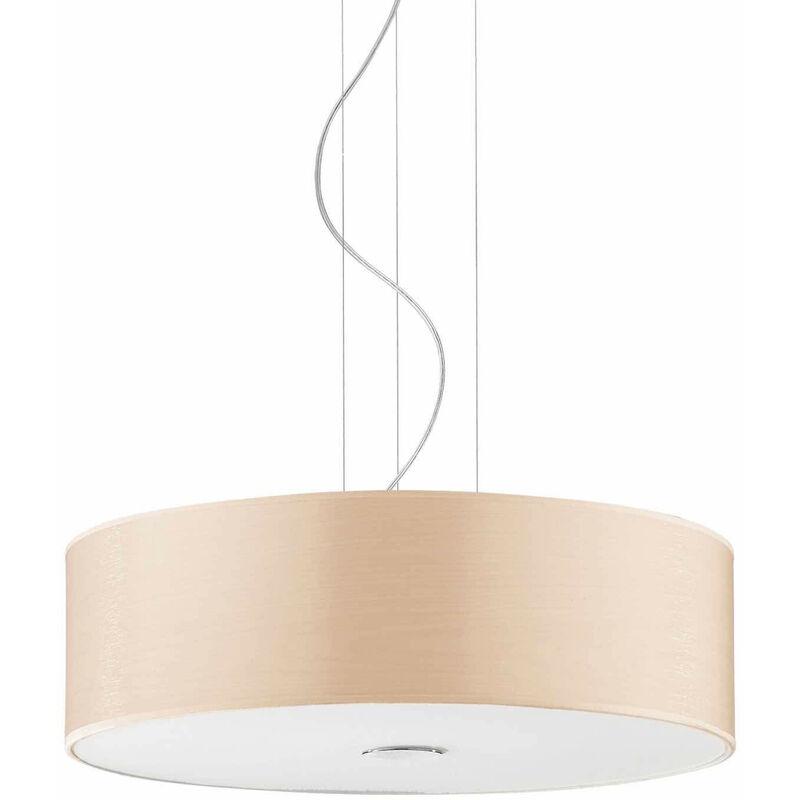 01-ideal Lux - HOLZ Holz Pendelleuchte 4 Glühbirnen