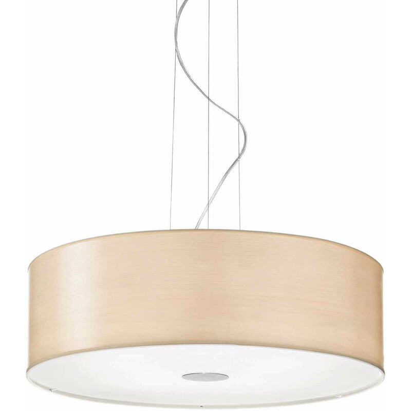 01-ideal Lux - HOLZ Holz Pendelleuchte 5 Glühbirnen