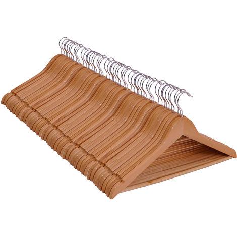3.12 Holz Kleiderbügel - 50 Stück (5x 10er Kleiderbügel-Set) - Farbe: natur