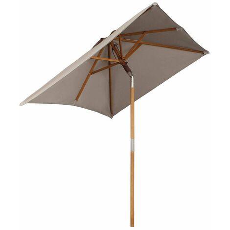 Holz Sonnenschirm für den Balkon, 200 x 155cm, rechteckiger Balkonschirm, Sonnenschutz bis UV 50+