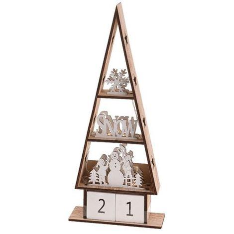 Tannenbaum Weiss Led.Holz Tannenbaum Snow Mit Kalender Und Led Beleuchtung 37 Cm Hoch Braun Weiß
