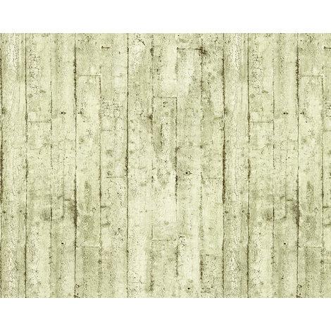 Holz Tapete EDEM 81108BR03 heißgeprägte Vliestapete leicht strukturiert im Shabby Chic Stil matt oliv creme-weiß braun 10,65 m2
