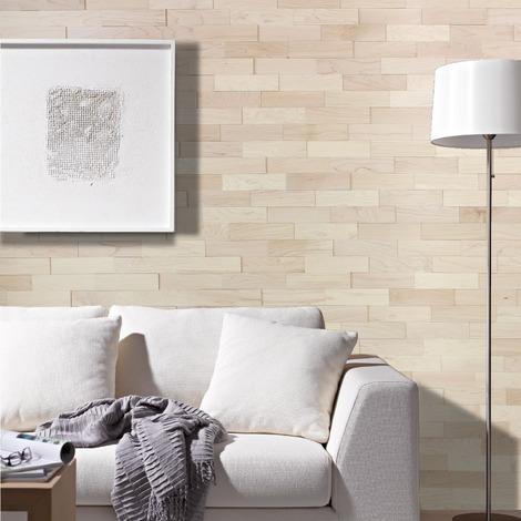 Holz Wandverkleidung Ahorn Echtholz | 3D-Optik | 1m² Holzwand Holzpaneele Wandpaneele Ahorn - natur