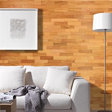 Holz Wandverkleidung Doussie Echtholz | 3D-Optik | 1m² Holzwand Holzpaneele Wandpaneele