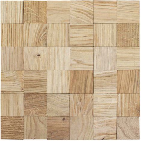 Holz Wandverkleidung Eiche naturgetrocknet selbstklebende Matte 30x30cm | 3D-Optik Holzwand Holzpaneele