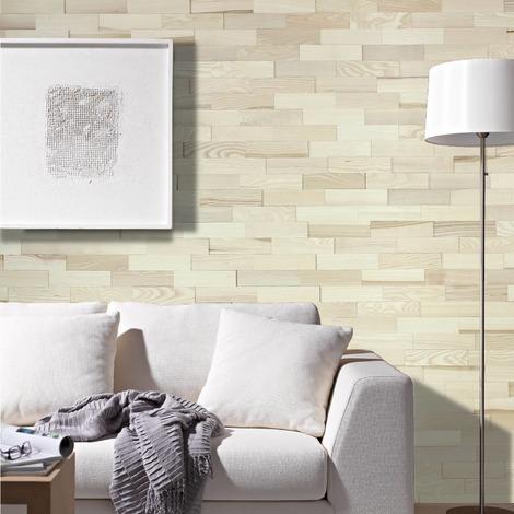 Holz Wandverkleidung Esche Echtholz | 3D-Optik | 1m² Holzwand Holzpaneele Wandpaneele