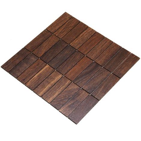 Holz-Wandverkleidung Holzmosaik Fliese 28x28cm | Eiche Tabak | nachhaltige Wandpaneele | Wanddekoration, Fußboden & Decke