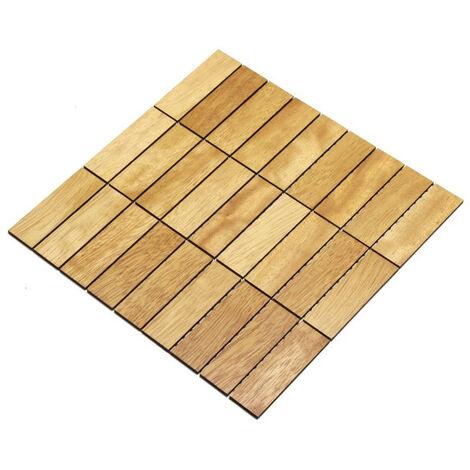 Holz-Wandverkleidung Holzmosaik Fliese 28x28cm | Iroko | nachhaltige Wandpaneele | Wanddekoration, Fußboden & Decke