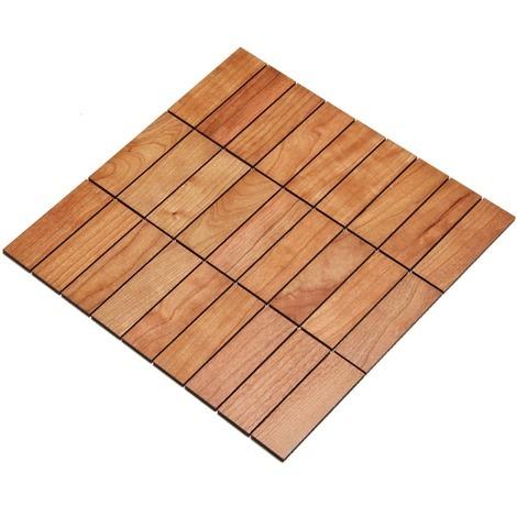 Holz-Wandverkleidung Holzmosaik Fliese 28x28cm | Kirsche | nachhaltige Wandpaneele | Wanddekoration, Fußboden & Decke
