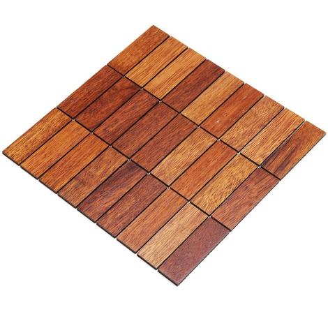 Holz-Wandverkleidung Holzmosaik Fliese 28x28cm | Merbau | nachhaltige Wandpaneele | Wanddekoration, Fußboden & Decke