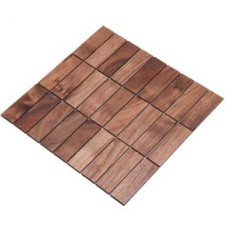 Holz-Wandverkleidung Holzmosaik Fliese 28x28cm | Nussbaum | nachhaltige Wandpaneele | Wanddekoration, Fußboden & Decke