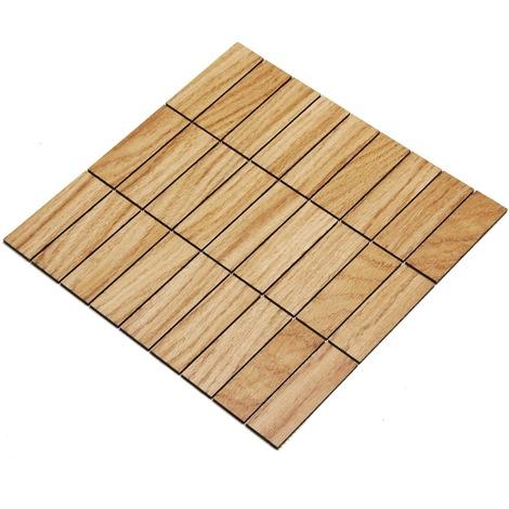 Holz-Wandverkleidung Holzmosaik Fliese 28x28cm | Teak | nachhaltige Wandpaneele | Wanddekoration, Fußboden & Decke