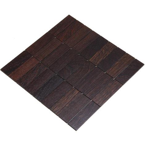 Holz-Wandverkleidung Holzmosaik Fliese 28x28cm | Wenge | nachhaltige Wandpaneele | Wanddekoration, Fußboden & Decke