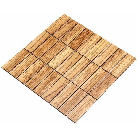 Holz-Wandverkleidung Holzmosaik Fliese 28x28cm | Zebrano | nachhaltige Wandpaneele | Wanddekoration, Fußboden & Decke