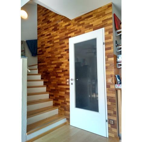 Holz Wandverkleidung Iroko Echtholz | 3D-Optik | 1m² Holzwand Holzpaneele Wandpaneele