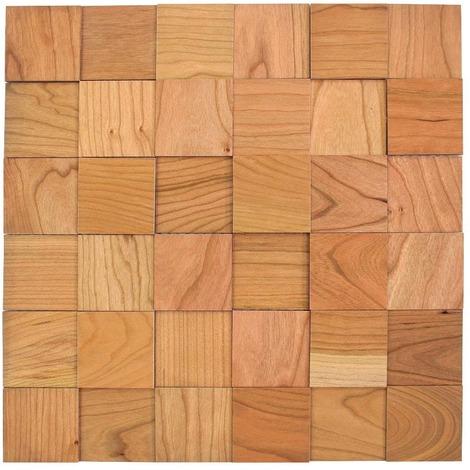 Holz Wandverkleidung Kirsche selbstklebende Matte 30x30cm | 3D-Optik Holzwand Holzpaneele