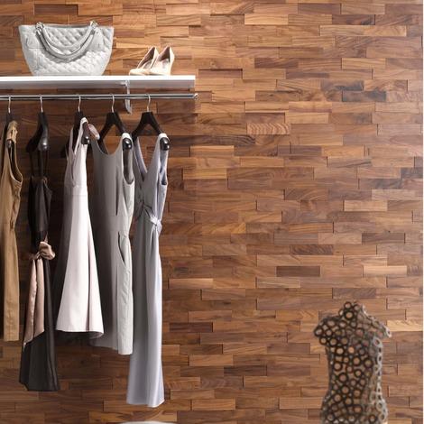 Holz Wandverkleidung Nussbaum Echtholz | 3D-Optik | 1m² Holzwand Holzpaneele