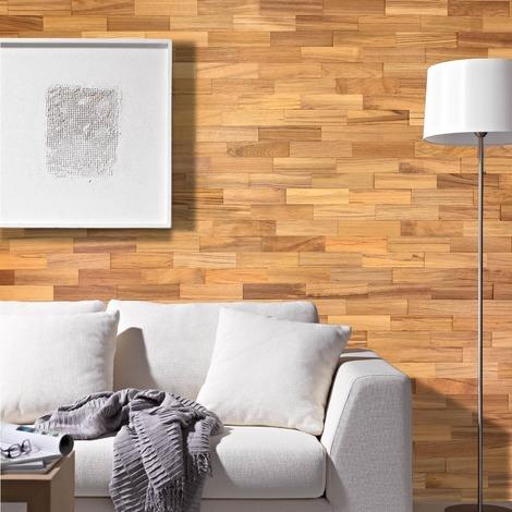 Holz Wandverkleidung Teak Echtholz | 3D-Optik | 1m² Holzwand Holzpaneele Wandpaneele