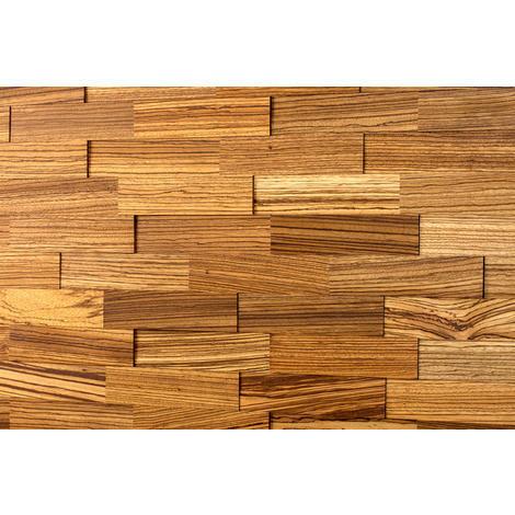 Holz Wandverkleidung Zebrano Echtholz | 3D-Optik | 1m² Holzwand Holzpaneele Wandpaneele