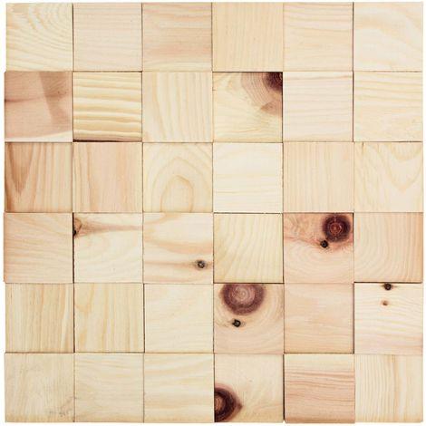 Holz Wandverkleidung Zirbe selbstklebende Matte 30x30cm | 3D-Optik Holzwand Holzpaneele Zirbenholz