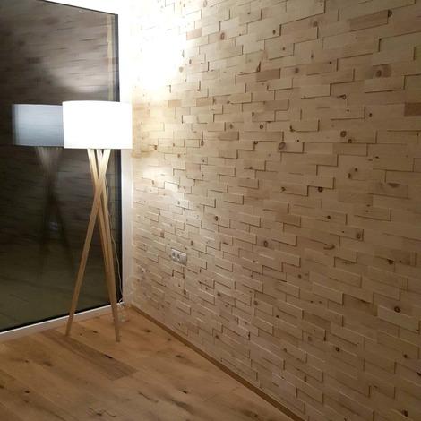 Holz Wandverkleidung Zirbenholz Echtholz | 3D-Optik | 1m² Holzwand Holzpaneele