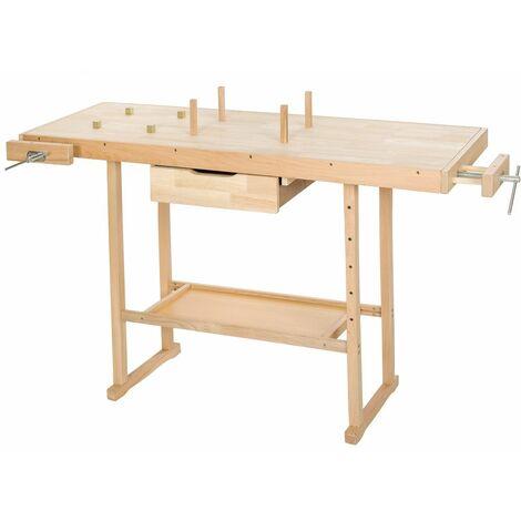 Holz Werkbank mit 2 Schraubstöcken 137 x 50 x 87 cm - Hobelbank, Werktisch, Werkstatttisch - braun
