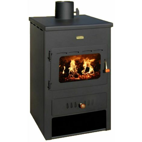 Holzbeheizter Ofen Integralkessel 8+4 kw Rückkessel Kaminofen Dachabzug