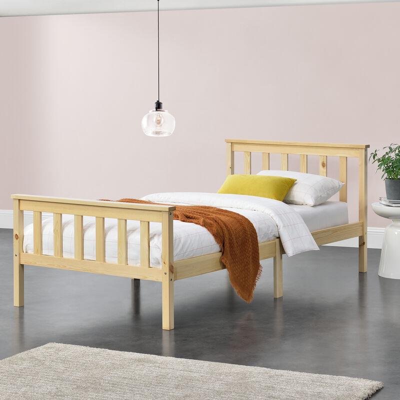 Holzbett mit hohem Kopfteil und Lattenrost 90x200 cm Jugendbett Singlebett Bettgestell Kiefernholz Natur Holz - [EN.CASA]