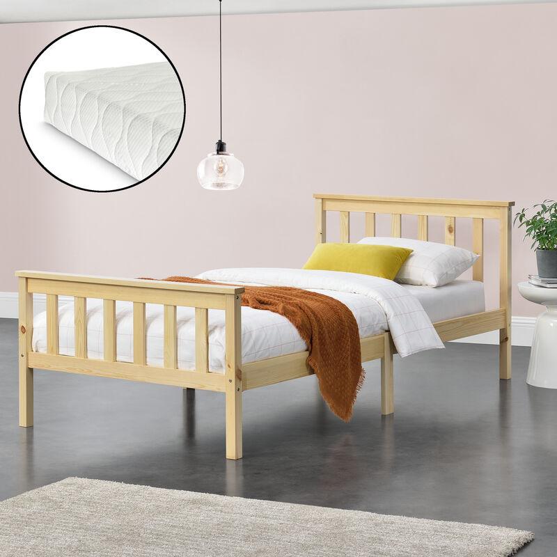 Holzbett mit Kaltschaummatratze Bettgestell mit hohem Kopfteil und Lattenrost 90x200 cm Jugendbett Singlebett Kiefernholz Natur Holz - [EN.CASA]