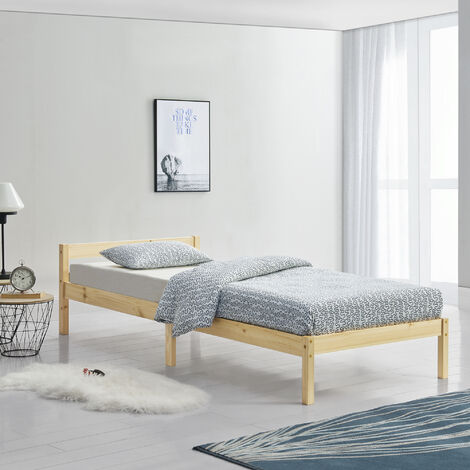 Holzbett Nakkila 120x200 cm Doppelbett mit Kopfteil Holz Natur