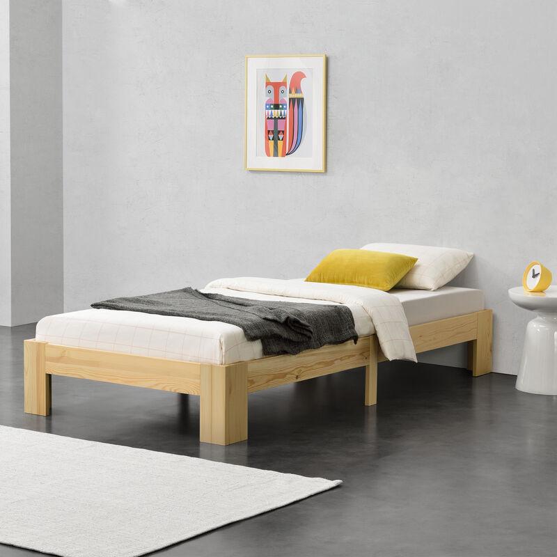 Holzbett Raisio 100x200 cm mit Lattenrost Bettgestell Bett Kiefernholz Massiv Einzelbett Jugendbett Gästebett Natur Holz - [EN.CASA]