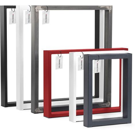 HOLZBRINK 1x Pied de Table en Profilés d\'Acier 60x20 mm, Cadre 30x43 cm, Noir Foncé, HLT-01-E-AA-9005 - Noir
