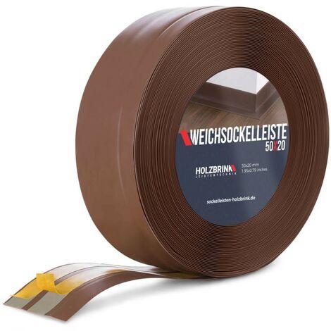 HOLZBRINK Plinthe Souple Autoadhésive Chocolat Plinthe pliable, 50x20 mm, 15 m -