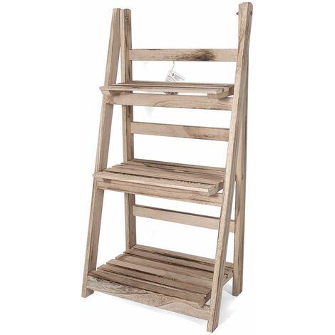 Holzdekorationsleiter Emma - Lagerregal - Leiterregal mit 3 Einlegeböden - Offener Schrank - Weiß - Hout