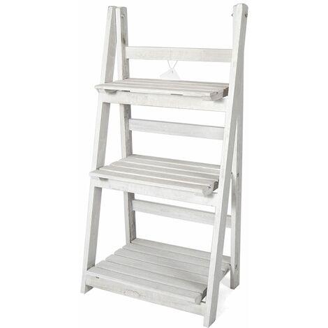 Holzdekorationsleiter Emma - Lagerregal - Leiterregal mit 3 Einlegeböden - Offener Schrank - Weiß - Wit