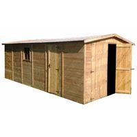 Holzgarage Blockbohlen 19 mm M102 - H222xL616xB324