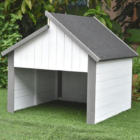 Holzgarage Mähroboter Grau / Weiß Garagen Dach Rasenroboter Carport Rasenmäher UV Schutz Mover Sonnenschutz Unterstand Gerätehaus