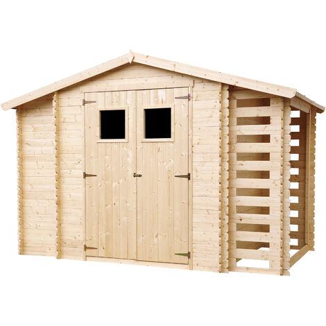 """main image of """"Holzhaus Gartenhaus mit Brennholzschuppen TIMBELA M389 - Gartenschuppen Holz B328xL206xH218 cm/ 3,53 + 0,97 + 0,97 m2 Lagerschuppen für Garten - Fahrrad Schuppen - Wasserfestes Dach"""""""