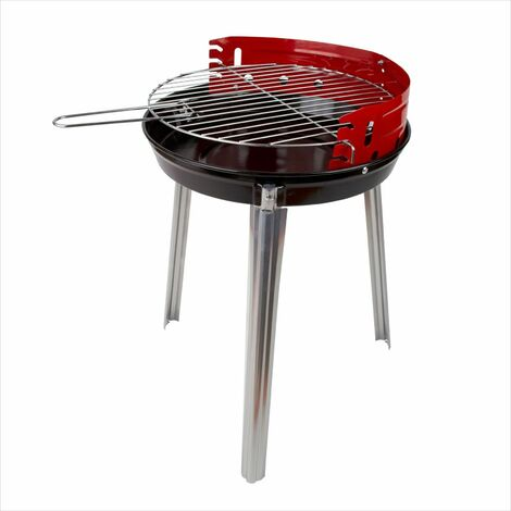 Holzkohle Rundgrill Standgrill Dreibein Grill Barbecue BBQ Lyon Ø 34 cm rot