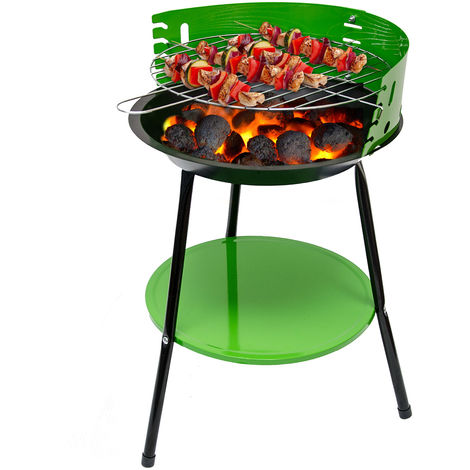 Holzkohlegrill mit Ablage Ø35x55cm Standgrill Rundgrill BBQ Camping Grill Klein